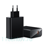 Сетевое зарядное устройство Baseus Speed PPS Smart Shutdown + Digital Display Quick Charger USB A+C 45W Black