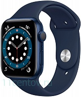 Apple Watch Series 6 GPS 44mm Aluminum Case with Sport Band, Blue (M00J3RU/A)