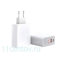 Сетевое зарядное устройство Baseus Speed PPS Smart Shutdown + Digital Display Quick Charger USB A+C 45W White