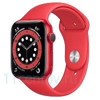 Apple Watch Series 6 GPS 44mm Aluminum Case with Sport Band, Red (M00M3RU/A)